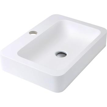 Fienza Rondo 600 Cast Stone Above Counter Basin 1Th Matte White