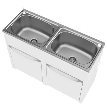 LAUNDRY TUB S/STEEL DOUBLE W/- CAB & B/PASS-45L 8211